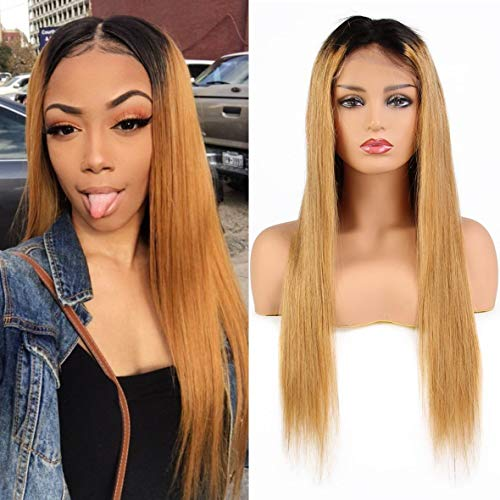 - 8A Women's Lace Front Wigs High Density Human Hair Virgin Brazilian Straight Wigs with Baby Hair Long 18inch Xtrend Ombre color(1B/27#)