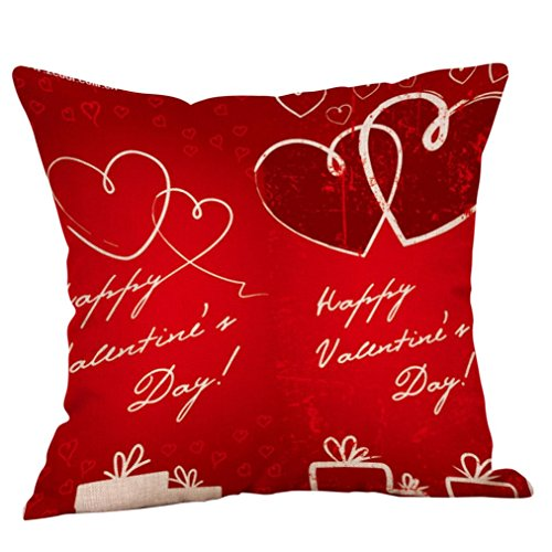 2018 New! Napoo Happy Valentine's Day Multi-color Cotton Linen Throw Pillow Case Sweet Love Square Cushion Cover (B)