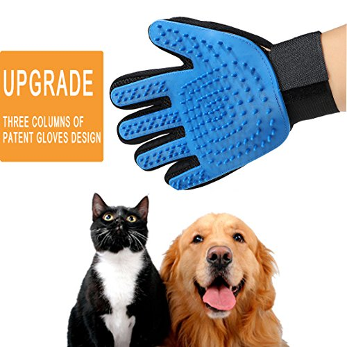 Pet Grooming Glove for Dogs and Cats Hair Remover Brush Gloves Gentle and Efficient Fur Deshedding Mitt, Upgrade and Patent (1 Pack Right Hand-Upgrade)