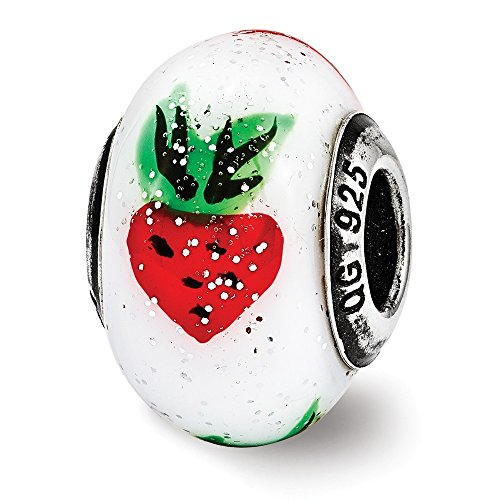 (Strawberry Italian Murano Glass Charm with Sterling Silver End Caps)