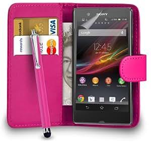 123 Online Sony Xperia Z1 compacta Hot Pink Cartera de cuero del caso del tirón de la cubierta Pouch + Grandes Touch Stylus Pen + 2 x Protector de pantalla y paño de pulido