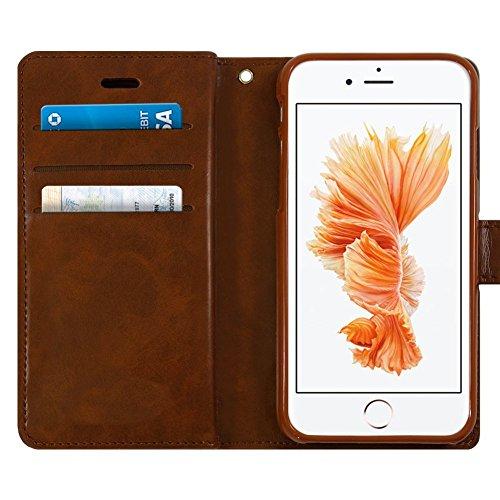 IPHONE 4S Hülle - [MANSOOR DIARY]VENTER®Stand Hülle Etui with Karte Halterung Leder Wallet Klapphülle Flip Book Case TPU Cover Bumper Tasche Ultra Slim für Apple IPHONE 4S