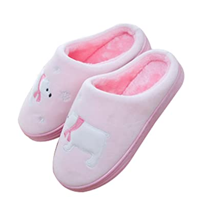 Cattior Womens Fur Lined Warm Slippers Fluffy Slippers