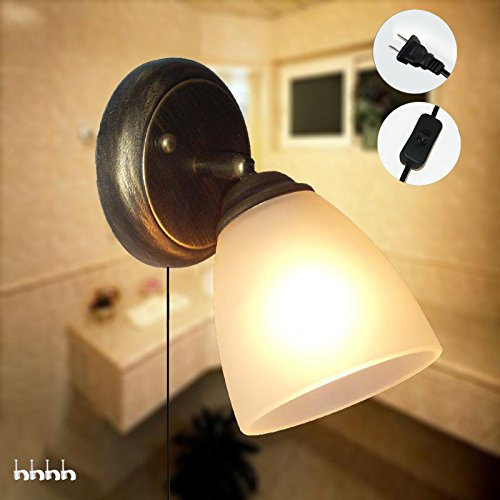 kiven vintage wall light glass shade e26 base plug in ul listed 6 Foot black Cord(BD0437) (Coffee Plans Outdoor Table)