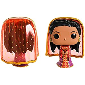 Dark Glow Genie Aladdin Pop! Exclusive Bundled with + Princess Jasmine Figure Desert Moon + Prince Ali Vinyl & Villain Character Jafar Pin Collection 4-Items