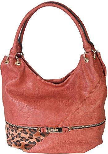 Dark Pink Faux Leather Patch of Leopard Print Shoulder Bag Hobo Purse Handbag - Leopard Hobo Bag