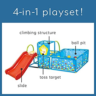 Eezy Peezy Active Play 3 in 1 Jungle Gym PlaySet – Includes Slide, Ball Pit, & Toss Target with 50 Colorful Balls: Toys & Games