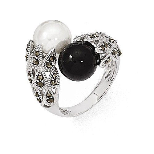 Jewelry Adviser Rings Sterling Silver Marcasite Black and White FW Cultured Pearl Ring Size 8 (Sterling Silver Pearl & Marcasite Bracelet)