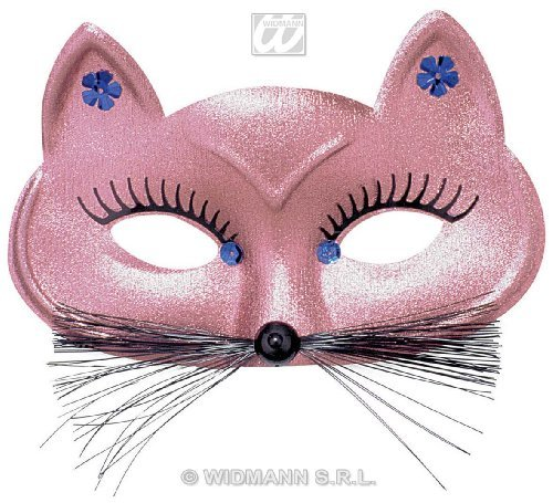 Pink Feline Fancy Mask (Cat Eyemask Gold/Pink Asstd Feline & Cat Masks Eyemasks & Disguises for Masquerade Fancy Dress Costume Accessory by WIDMANN S.R.L.)