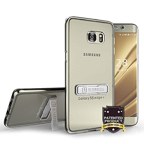 For Samsung Galaxy S6 EDGE PLUS Crystal Clear slim fit case with Metal Kickstand [2 pack] 2-in-1 Bundle Pack Transparent anti-scratch Front and Side Cover Piece, 2 Hard Back Piece