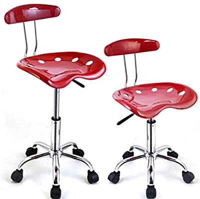 2 PCS Set Bar Stools ABS Back Swivel Counter Tractor Seat Swivel Chrome Kitchen Breakfast Red