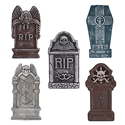 "Pack of 5 Halloween 16"" Foam RIP Graveyard Tombstone Halloween Decorations with Different style With Bonus Stands - Tombstone Halloween Decorations"