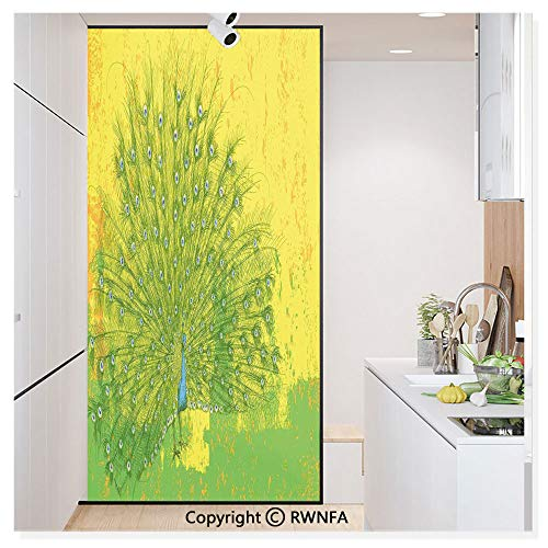"""RWN Film No Glue Static Cling Glass Sticker Decorative,Peacock Over an Abstract Grunge Background Sketchy Stylized Nature Theme Artwork 17.7"""" x 59.8"""" for Home&Office,Green Yellow"""
