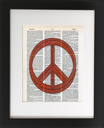 peace-out-optical-illusions-upcycled-dictionary-art-print-8x10-unframed-frame-and-matting-are-for-pr