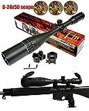 Ledsniperbrand Sniper 6-24x50 Aoe Red & Green & Blue Illuminated Mil-dot Adjustable Intensified Rifle Scope + Sunshade + Flip-up Caps + Rail Mounts