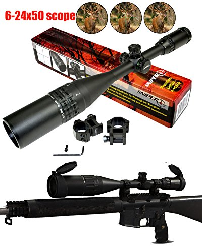 Ledsniperbrand Sniper 6-24x50 Aoe Red & Green & Blue Illuminated Mil-dot Adjustable Intensified Rifle Scope + Sunshade + Flip-up Caps + Rail Mounts by Sniper