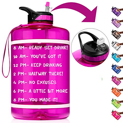 HydroMATE 1 Gallon Straw Motivational Water Bottle with Time Marker Large BPA Free Jug Handle Time Marked 5 Drink Marking Measures to Track Daily Water Intake One Gallon Hydro MATE (Gallon, Magenta)