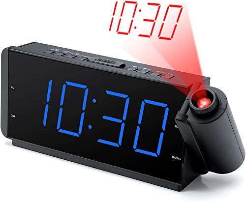 DreamSky Projection Alarm Clock Radio with USB Charging Port FM Radio 10 Preset Stations, 2 Inches Large Blue Led Number with Dimmer, Snooze, Sleep Timer,12H Display, Plug in Alarm Clock for Bedroom