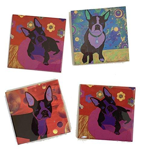 Boston Terrier Tile Coaster Set II, Dog Art Ceramic Tiles Home Decor by Angela Bond