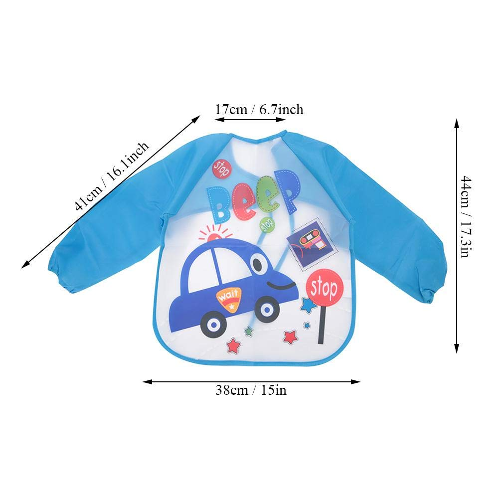 Baby Waterproof Sleeved Bib Children Painting Art Smock Aprons with Long Sleeves Feeding Eating Playing Aprons for Infants Blue