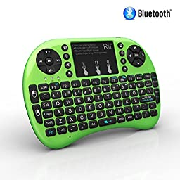 Rii i8+ BT Mini Wireless Bluetooth Backlight Touchpad Keyboard with Mouse for PC/Mac/Android, Green (RTi8BT-5)