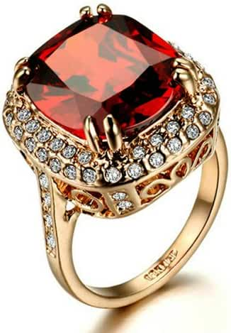 Yoursfs Rings,Women Cocktail Statement Rings,18k Rose Gold Plated Fashion Jewelry,Red Crystal CZ Rings Anniversary Gift