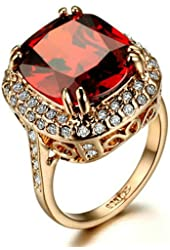 Yoursfs Retro Series 18k Rose Gold Plated Austrian Crystal 5ct Diamond-Cut Ruby Valentine's Day Gift Ring