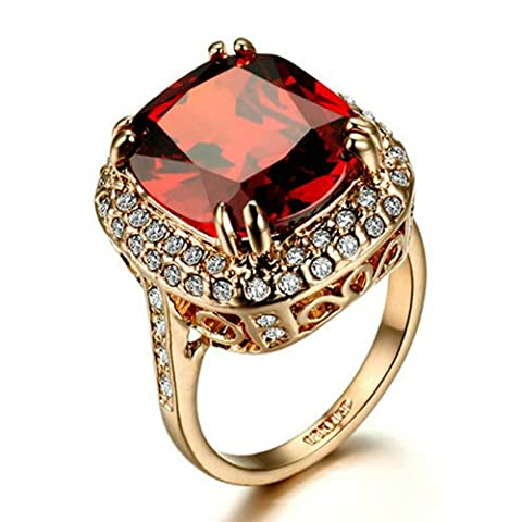 Yoursfs Halo Filigree Ring For Women Rhodolite Garnet Crystal 18K Rose GP Fashion Jewelry - Big Stone Ring
