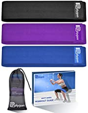 Resistance Exercise Bands, Polygon Fabric Non Slip Hip Bands for Squats, Legs, Butt, Thigh and Hip Workout, Thick Wide Fitness Loop Circle for Men & Women. Workout Guide Included. (Set of 3)