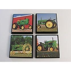 Green Tractor John Deere Room Wall Plaques - Set of 4 John Deere green tractor boys Room Decor - John Deere Room Sign - John Deere room decor