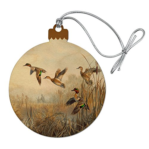 GRAPHICS & MORE Green-Winged Teal Ducks Taking Flight Hunters Hunting Wood Christmas Tree Holiday Ornament