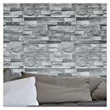 """HaokHome 454003 Modern Faux Stone Wallpaper Roll Gray 3D Brick Realistic Paper Room Wall Decoration 20.8"""" x 393.7"""""""