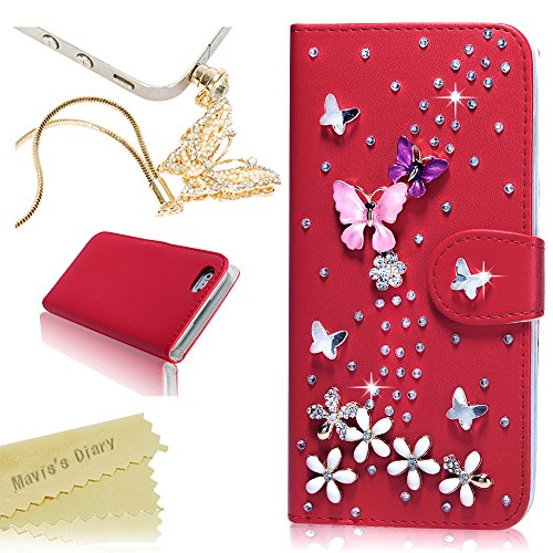 Iphone 6 Plus Case – Mavis's Diary 3D Handmade Bling Crystal Butterfly Lingers Over Flower Rhinestone Diamond Flowers PU Leather Wallet Magnetic Clasp…