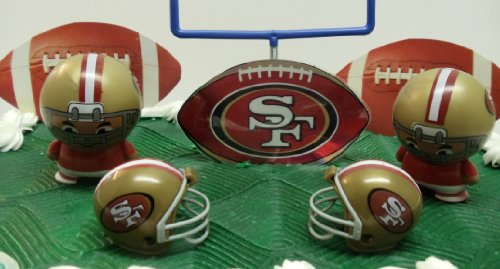 NFL Football San Francisco 49ers Birthday Cake Topper Set Featuring Helmets And Decorative Pieces