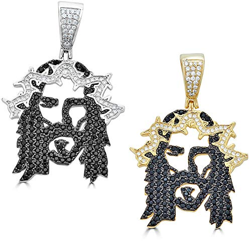 Harlembling Solid 925 Sterling Silver Iced Out Jesus Piece Pendant - Men's - Great for Any Chain! ICY Black CZ Ghost Jesus (Natural ()