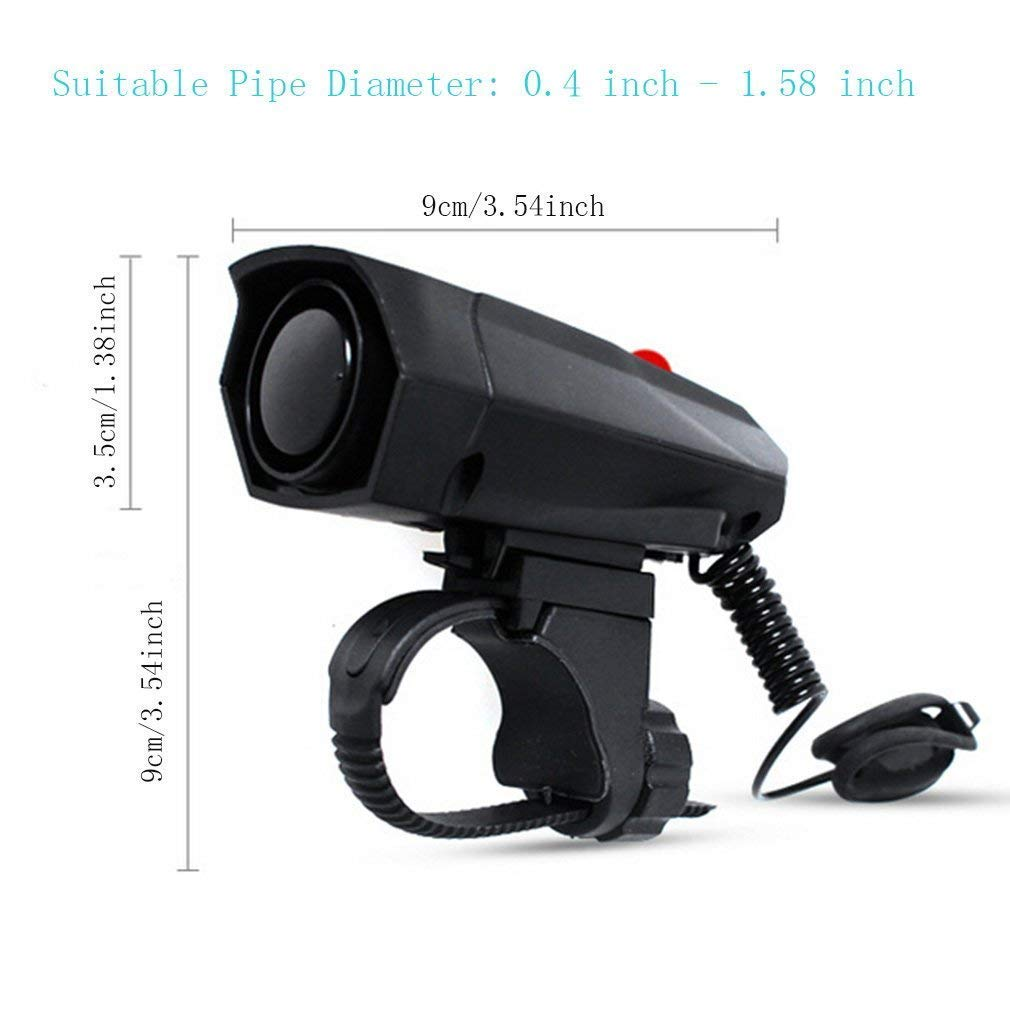 Cycling Bicycle Handlebar Ring Bell Horn with 6 Different Sounds Black KEWAYO 120dB Loud Bike Horn