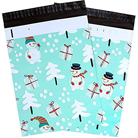 10x13 100-Pack Santa Face Designer Poly Mailers, Ohuhu Christmas Shipping Envelope Mailer Bags Sealed Christmas Holiday Gifts Boutique Custom Bag Xmas Mailer Packages with Self Adhesive Strip, Pink