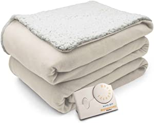 Biddeford Comfort Knit Natural Sherpa Electric Heated Blanket Full Natural