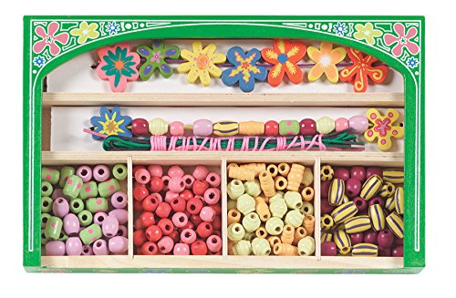 - Melissa & Doug Flower Power Wooden Bead Set With 150+ Beads and 5 Cords for Jewelry-Making