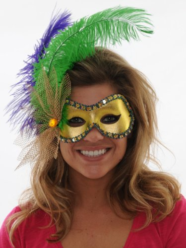 Feather Gold Italian Mask Masquerade Mardi Gras Eye Mask Venetian Costume Accessory Sizes: One Size