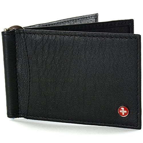 alpine swiss Mens RFID Blocking Leather Deluxe Spring Money Clip Wallet, Black, One Size