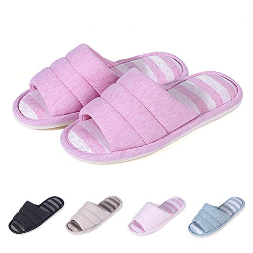 Home Shoes Slippers on Memory Toe Slippers Women's House Indoor Dark Open Slip Pink Cotton Soft Shevalues Foam wFqPgT7x