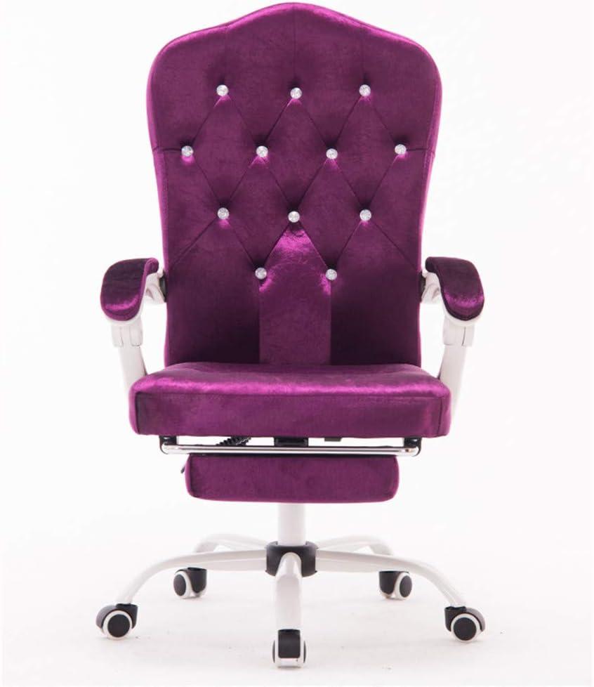 Chaise Pivotante,Chaise D'Ordinateur Accueil Violet Velours
