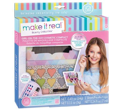 (Make It Real - Girl-on-The-Go Cosmetic Compact. Girls Makeup Kit is a Perfect Starter Cosmetic Set for Kids and Tweens. Includes Cat Design Makeup Case, Compact Mirror, Eyeshadow, Blush &)