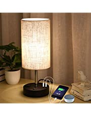 Focondot Table Lamp with Warm White LED Bulb, Built in Dual USB 5V/2.1A Charging Ports & One AC Outlet, Fabric Bedside Nightstand Lamps for Bedroom Living Room Office Study