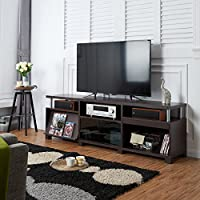 Furniture of America Tamson Contemporary Walnut Entertainment Center with Display Shelf