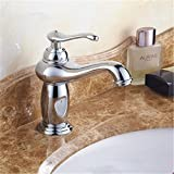 HANGESA Solid Copper Luxury Europe Style Antique Gold Bathroom Basin Faucet Single Handle Cold And Hot Water Mixer S112 chrome