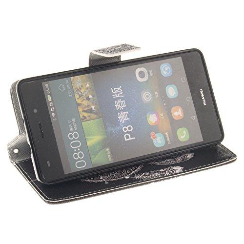 Funda para Huawei P8 Lite, Flip funda de cuero PU para Huawei P8 Lite, Huawei P8 Lite Leather Wallet Case Cover Skin Shell Carcasa Funda, Ukayfe Cubierta de la caja Funda protectora de cuero caso del  Campanula Negro