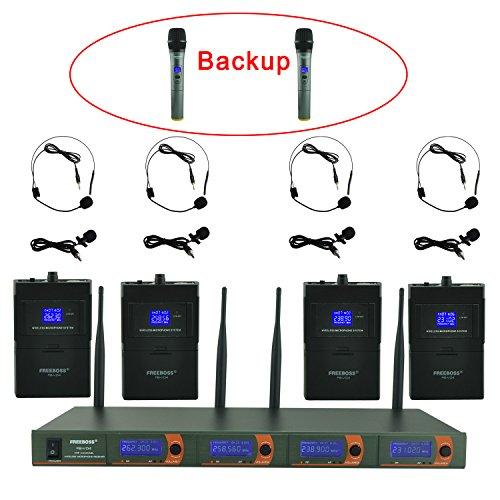 Mic Vhf Lavalier (Freeboss FB-V04 4 Headset Lapel (2 Handhold microphone Back up) Vhf Wireless Microphone)