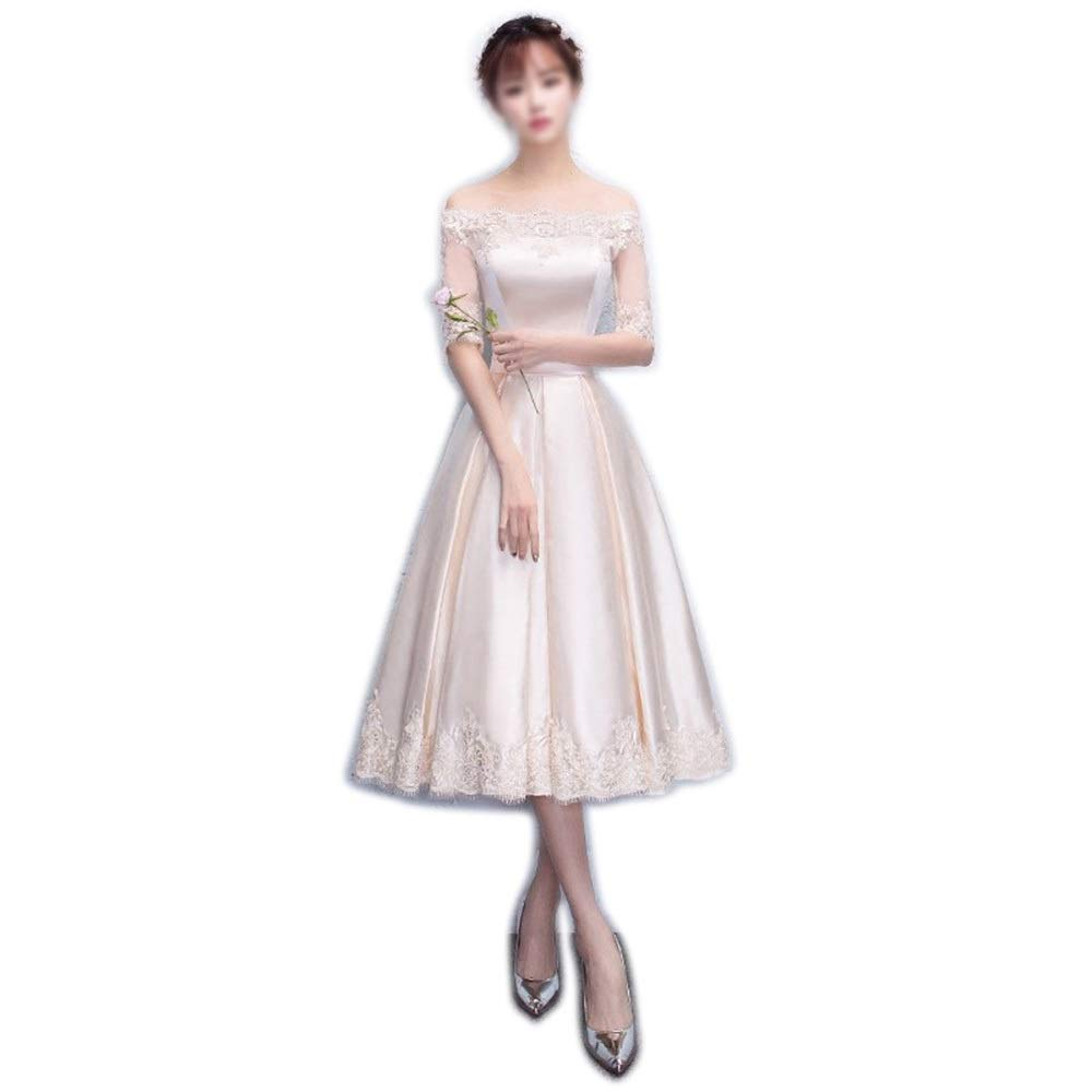 Champagne RABILTY Women's Sexy OneShoulder LongSleeved Party Evening Maix Prom Dress (color   Champagne, Size   S)